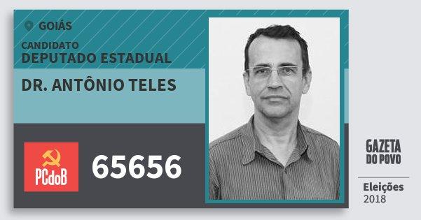 Santinho Dr. Antônio Teles 65656 (PC do B) Deputado Estadual | Goiás | Eleições 2018