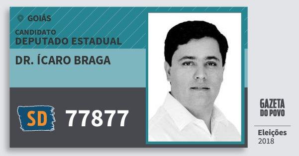 Santinho Dr. Ícaro Braga 77877 (SOLIDARIEDADE) Deputado Estadual | Goiás | Eleições 2018