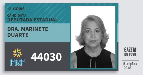 Santinho Dra. Marinete Duarte 44030 (PRP) Deputada Estadual | Goiás | Eleições 2018