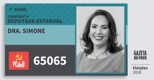 Santinho Dra. Simone 65065 (PC do B) Deputada Estadual | Goiás | Eleições 2018