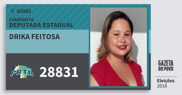 Santinho Drika Feitosa 28831 (PRTB) Deputada Estadual | Goiás | Eleições 2018