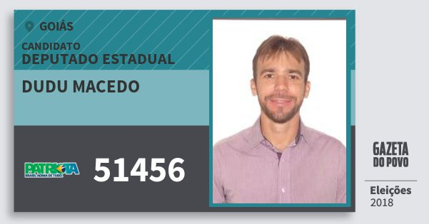 Santinho Dudu Macedo 51456 (PATRI) Deputado Estadual | Goiás | Eleições 2018