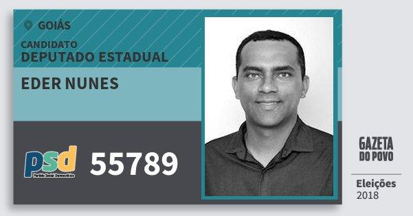 Santinho Eder Nunes 55789 (PSD) Deputado Estadual | Goiás | Eleições 2018