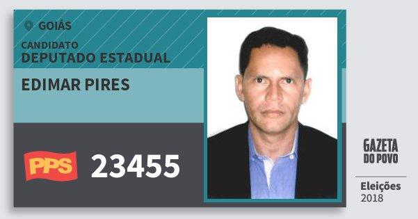 Santinho Edimar Pires 23455 (PPS) Deputado Estadual | Goiás | Eleições 2018