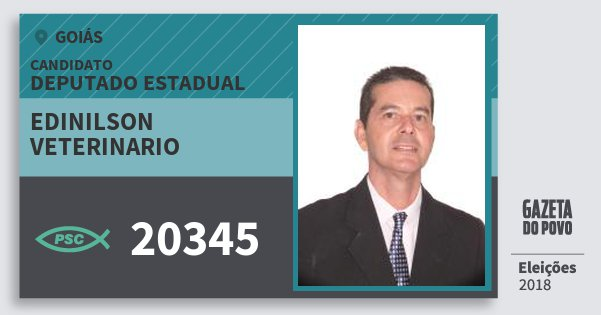 Santinho Edinilson Veterinario 20345 (PSC) Deputado Estadual | Goiás | Eleições 2018