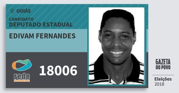 Santinho Edivam Fernandes 18006 (REDE) Deputado Estadual | Goiás | Eleições 2018