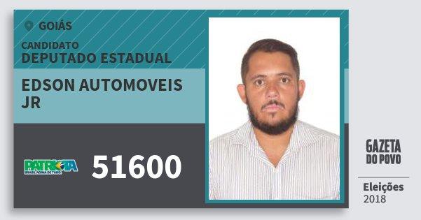 Santinho Edson Automoveis Jr 51600 (PATRI) Deputado Estadual | Goiás | Eleições 2018