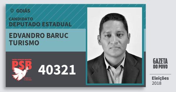 Santinho Edvandro Baruc Turismo 40321 (PSB) Deputado Estadual | Goiás | Eleições 2018
