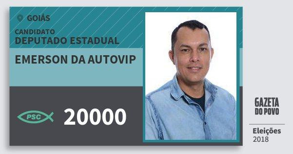 Santinho Emerson da Autovip 20000 (PSC) Deputado Estadual | Goiás | Eleições 2018