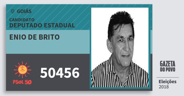 Santinho Enio de Brito 50456 (PSOL) Deputado Estadual | Goiás | Eleições 2018