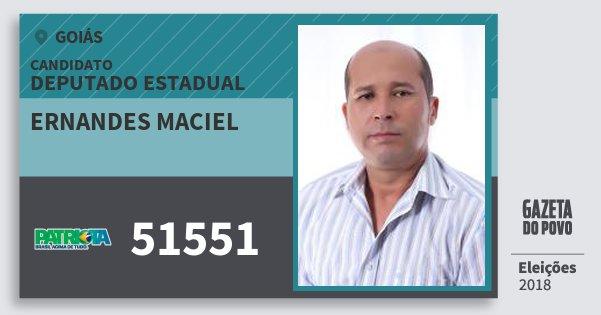 Santinho Ernandes Maciel 51551 (PATRI) Deputado Estadual | Goiás | Eleições 2018