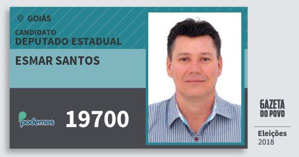 Santinho Esmar Santos 19700 (PODE) Deputado Estadual | Goiás | Eleições 2018