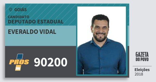 Santinho Everaldo Vidal 90200 (PROS) Deputado Estadual | Goiás | Eleições 2018