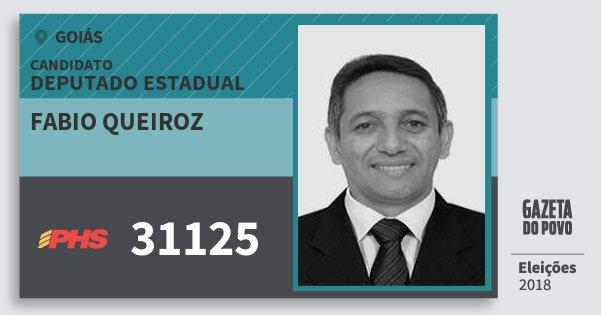 Santinho Fabio Queiroz 31125 (PHS) Deputado Estadual | Goiás | Eleições 2018