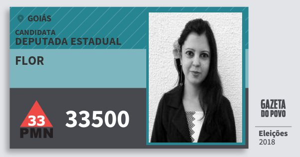 Santinho Flor 33500 (PMN) Deputada Estadual | Goiás | Eleições 2018
