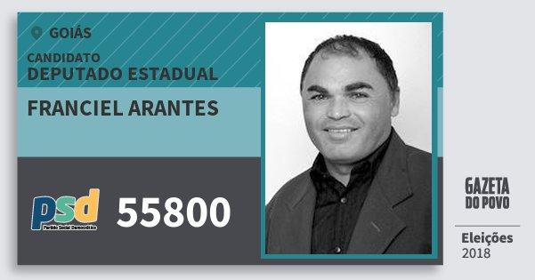 Santinho Franciel Arantes 55800 (PSD) Deputado Estadual | Goiás | Eleições 2018