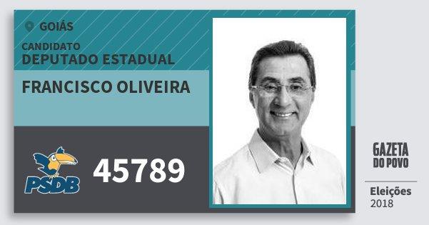 Santinho Francisco Oliveira 45789 (PSDB) Deputado Estadual | Goiás | Eleições 2018