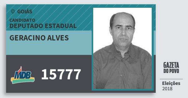 Santinho Geracino Alves 15777 (MDB) Deputado Estadual | Goiás | Eleições 2018