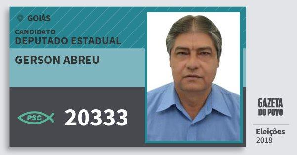 Santinho Gerson Abreu 20333 (PSC) Deputado Estadual | Goiás | Eleições 2018