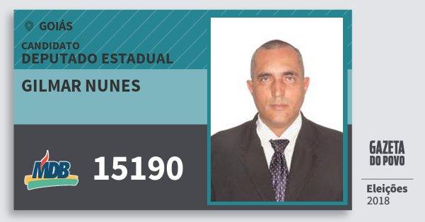 Santinho Gilmar Nunes 15190 (MDB) Deputado Estadual | Goiás | Eleições 2018