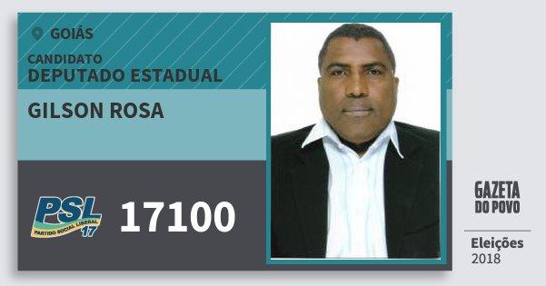 Santinho Gilson Rosa 17100 (PSL) Deputado Estadual | Goiás | Eleições 2018