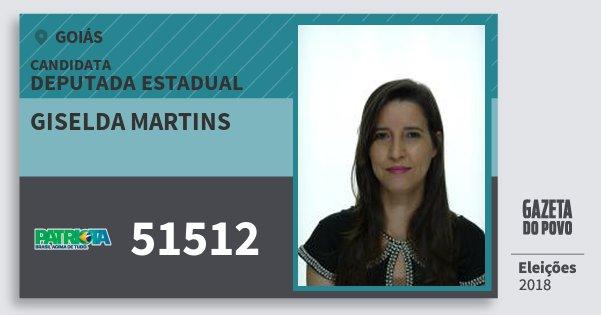 Santinho Giselda Martins 51512 (PATRI) Deputada Estadual | Goiás | Eleições 2018