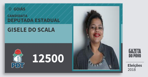 Santinho Gisele do Scala 12500 (PDT) Deputada Estadual | Goiás | Eleições 2018