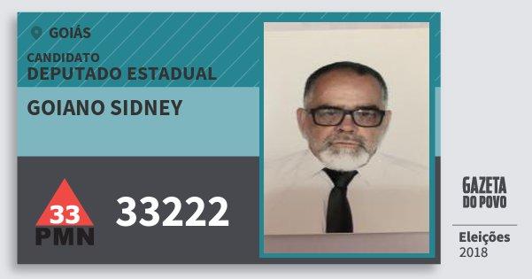 Santinho Goiano Sidney 33222 (PMN) Deputado Estadual | Goiás | Eleições 2018