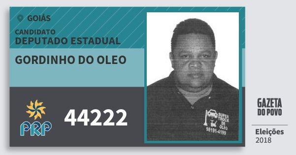 Santinho Gordinho do Oleo 44222 (PRP) Deputado Estadual | Goiás | Eleições 2018