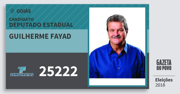 Santinho Guilherme Fayad 25222 (DEM) Deputado Estadual | Goiás | Eleições 2018