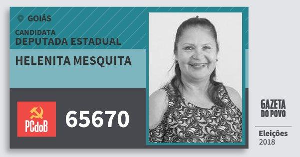 Santinho Helenita Mesquita 65670 (PC do B) Deputada Estadual | Goiás | Eleições 2018