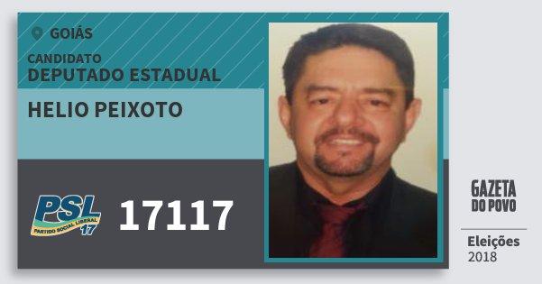 Santinho Helio Peixoto 17117 (PSL) Deputado Estadual | Goiás | Eleições 2018
