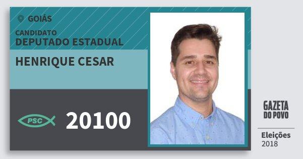 Santinho Henrique Cesar 20100 (PSC) Deputado Estadual | Goiás | Eleições 2018