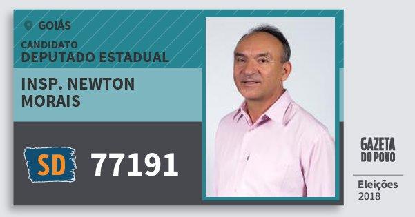 Santinho Insp. Newton Morais 77191 (SOLIDARIEDADE) Deputado Estadual | Goiás | Eleições 2018
