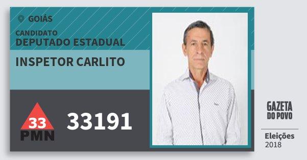 Santinho Inspetor Carlito 33191 (PMN) Deputado Estadual | Goiás | Eleições 2018