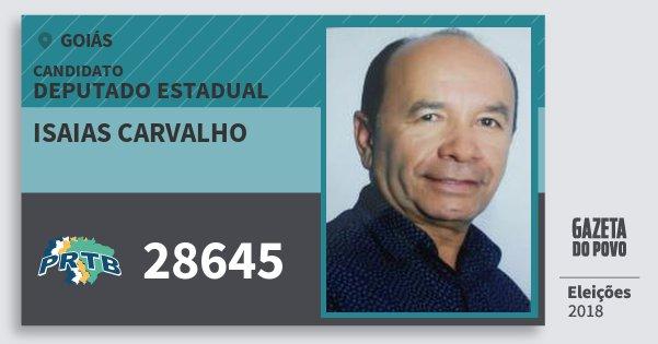 Santinho Isaias Carvalho 28645 (PRTB) Deputado Estadual | Goiás | Eleições 2018