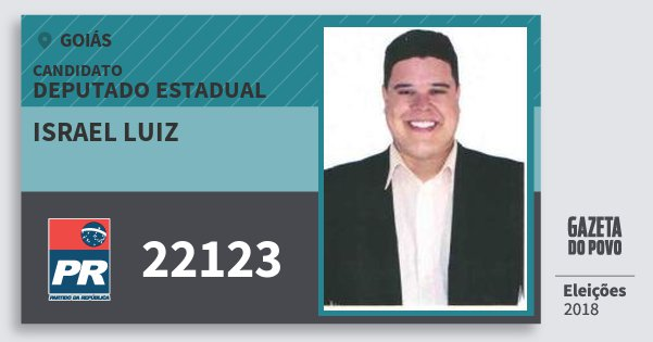 Santinho Israel Luiz 22123 (PR) Deputado Estadual | Goiás | Eleições 2018