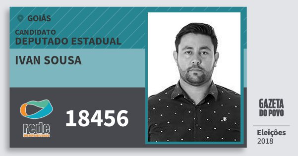 Santinho Ivan Sousa 18456 (REDE) Deputado Estadual | Goiás | Eleições 2018