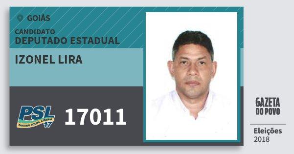 Santinho Izonel Lira 17011 (PSL) Deputado Estadual   Goiás   Eleições 2018