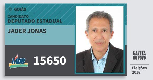 Santinho Jader Jonas 15650 (MDB) Deputado Estadual | Goiás | Eleições 2018