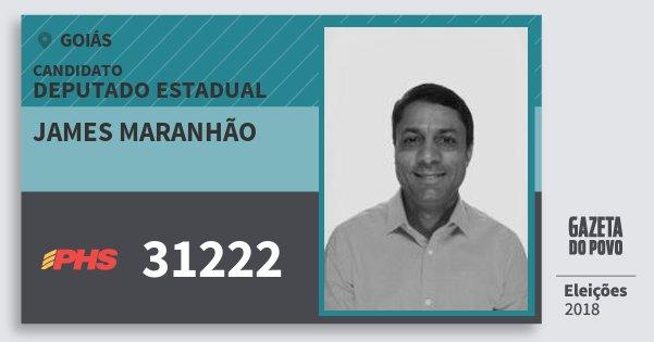 Santinho James Maranhão 31222 (PHS) Deputado Estadual | Goiás | Eleições 2018