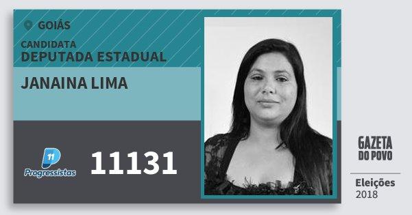 Santinho Janaina Lima 11131 (PP) Deputada Estadual | Goiás | Eleições 2018
