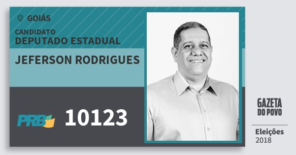 Santinho Jeferson Rodrigues 10123 (PRB) Deputado Estadual | Goiás | Eleições 2018