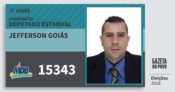 Santinho Jefferson Goiás 15343 (MDB) Deputado Estadual | Goiás | Eleições 2018