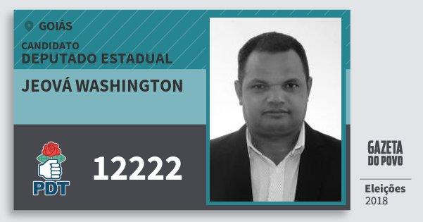 Santinho Jeová Washington 12222 (PDT) Deputado Estadual | Goiás | Eleições 2018
