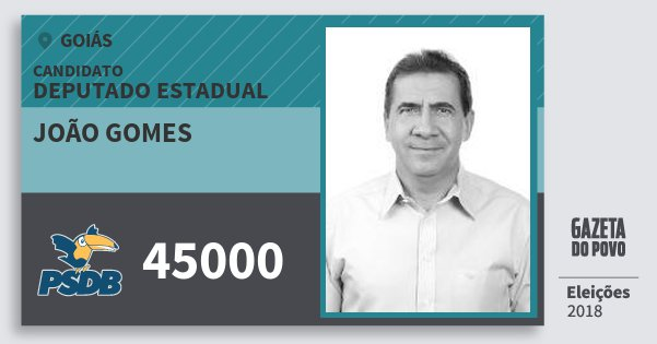 Santinho João Gomes 45000 (PSDB) Deputado Estadual | Goiás | Eleições 2018