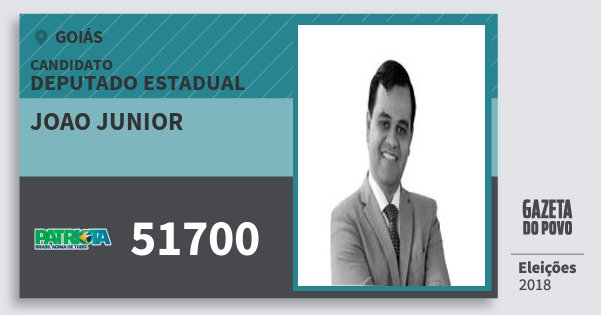 Santinho Joao Junior 51700 (PATRI) Deputado Estadual | Goiás | Eleições 2018