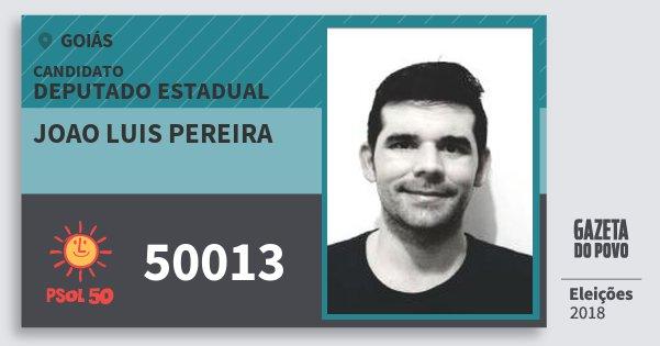 Santinho Joao Luis Pereira 50013 (PSOL) Deputado Estadual | Goiás | Eleições 2018