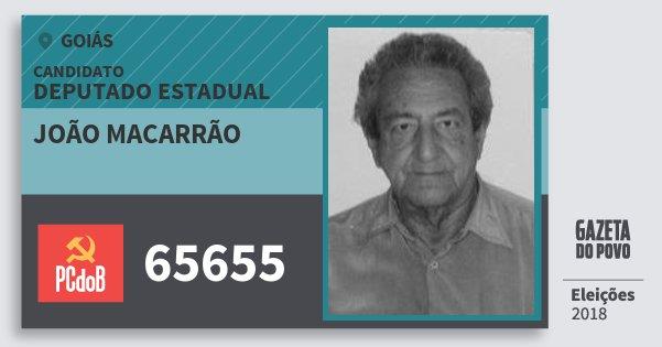 Santinho João Macarrão 65655 (PC do B) Deputado Estadual | Goiás | Eleições 2018