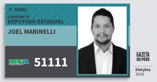 Santinho Joel Marinelli 51111 (PATRI) Deputado Estadual | Goiás | Eleições 2018